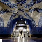 تصاویر ایستگاه متروی شگفت انگیز استکهلم سوئد ( ترکیب هنر و معماری ) 1