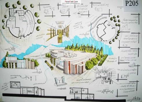 اسکیس٬ راندو٬ شیت بندی٬ پرسپکتیو خارجی٬  پرسپکتیو داخلی٬ کافه کتاب٬ معماری