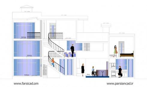 نقشه ویلا ، پلان ویلا ، پلان ساختمان ، نقشه ساختمان ، ویلای دوبلکس ، ویلای تریبکس ، معماری