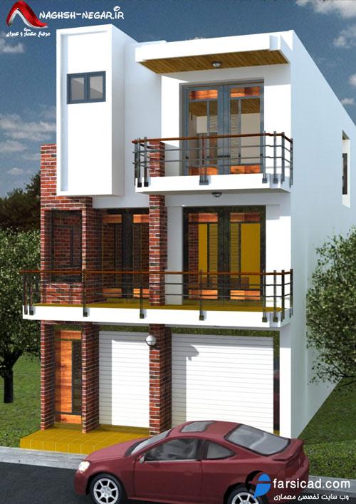 نقشه ساختمان مسکونی، پلان مسکونی، نقشه اتوکدی، سه بعدی، نقشه معماری