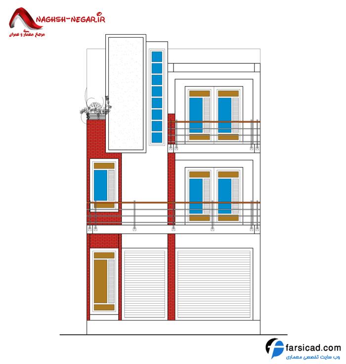 نمای ساختمان مسکونی 3 طبقه - نقشه اتوکدی dwg