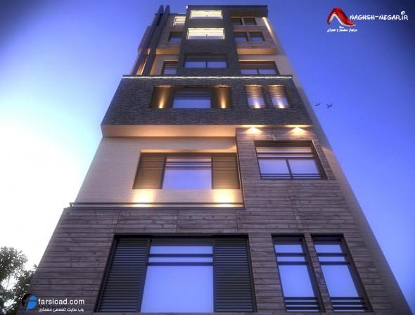 سه بعدی نمای ترکیبی - نمای معماری - عکس معماری نمای ساختمان