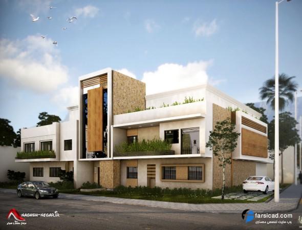 نمای ساختمان 2 طبقه - نمای ویلایی - طرح نمای بیرونی ساختمان - نماهای شیک و زیبا
