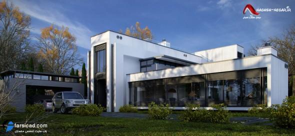 نمای ویلای شیک و زیبا - سه بعدی نما - نمای ترکیبی - معماری