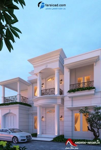 طرح نمای عربی - نمای ساختمانی - نمای ساختمان دوبلکس - نمای ساختمان ویلایی - نمای یک طبقه