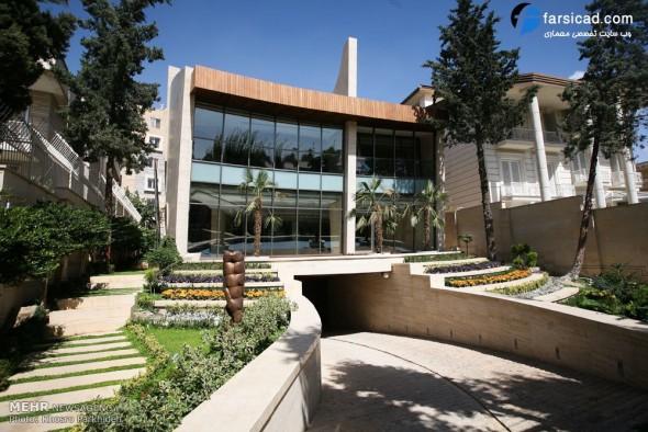 نمای ساختمان حیاط دار ، محوطه سازی ، طرح نمای ساختمان، نمای ویلایی