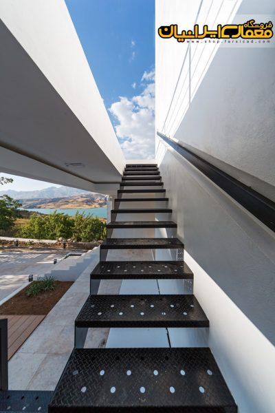 ویلای سفید - نمای سنگی ویلا - نمای سیمانی ساختمان - نمای مدرن - معماری مدرن