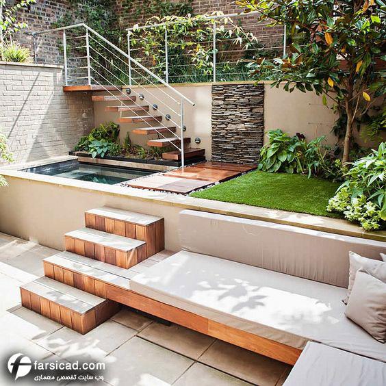 طراحی محوطه باغ ویلا و ساختمان های متفاوت: مجموعه 20 طرح محوطه سازی و طراحی حیاط مسکونی و ویلایی کوچک