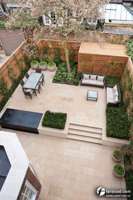 طراحی حیاط ویلایی - طراحي حياط و باغچه - طراحی حیاط 100متری - طراحی حیاط 50 متری - طرح حیاط منزل