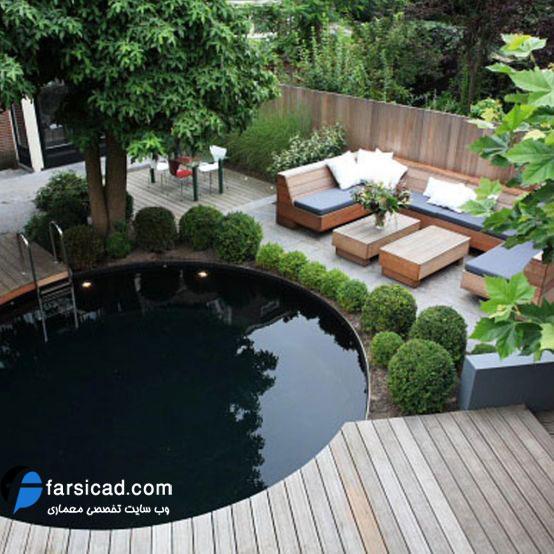مجموعه 20 طرح محوطه سازی و طراحی حیاط مسکونی و ویلایی کوچک ...