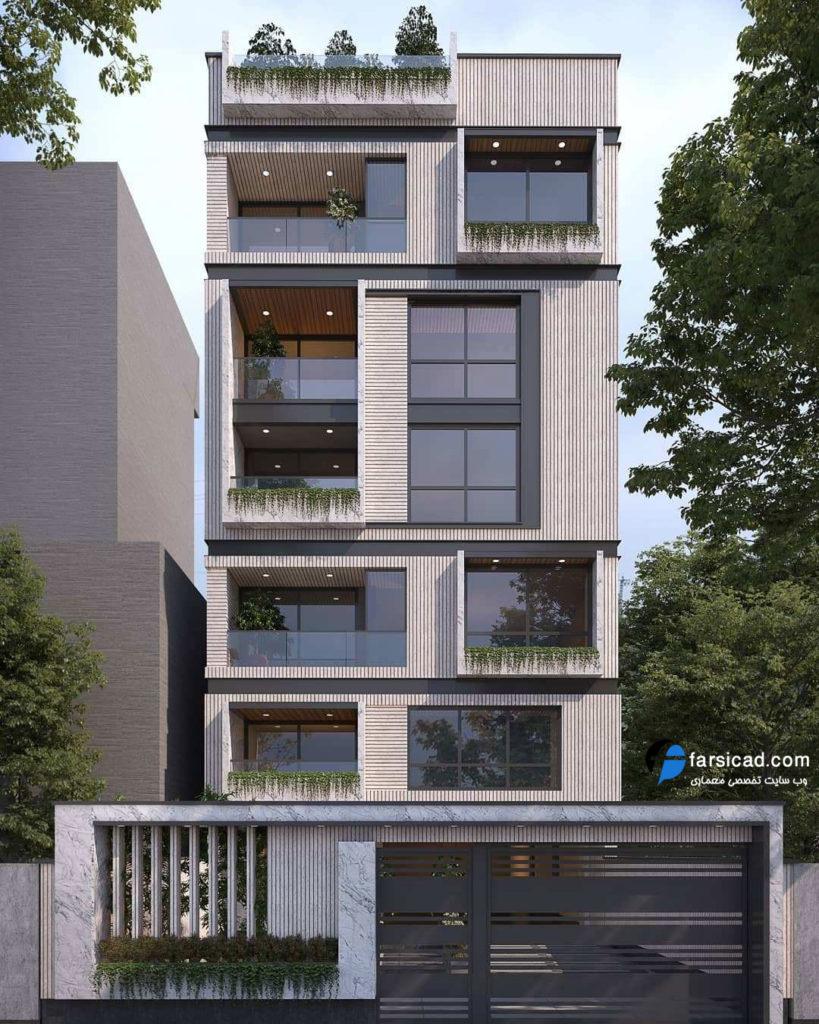 نمای آپارتمان - نمای ساختمان 5 طبقه - نمای ساختمان 4 طبقه - نمای سنگی - نمای ترکیبی - نمای لوکس - نمای لاکچری