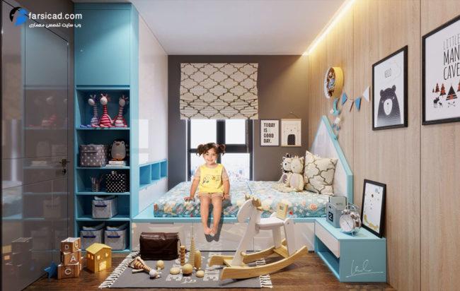 مدل سه بعدی اتاق خواب کودک - دکوراسیون اتاق کودک - طراحی اتاق خواب کودک