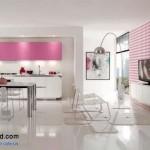 جدیدترین طرح های کابینت آشپزخانه ( ام دی اف و های گلاس ) - مدل کابینت MDF high Gloss 48