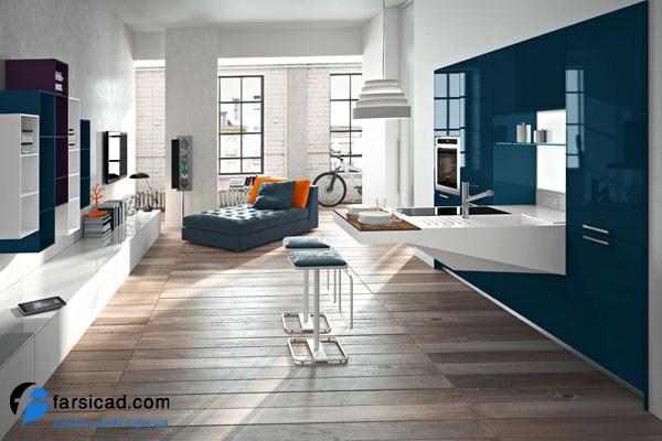 طرح کابینت آشپزخانه ، طراحی کابینت آشپزخانه ام دی اف و های گلاس ، طرح آرک اپن آشپزخانه